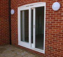 Hardwood sliding patio doors