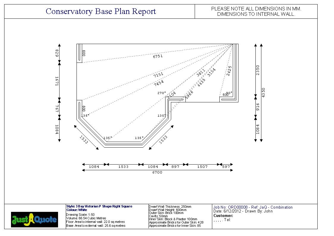 DIY Conservatories - Base Plan for a P Shaped Conservatory