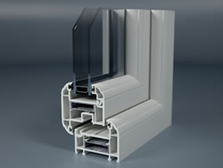 Cross section of white uPVC casement window