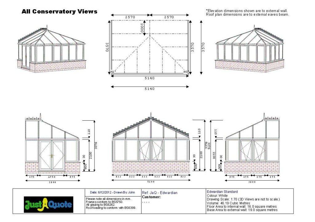Edwardian Conservatories - CAD Drawing of an Edwardian Style Conservatory
