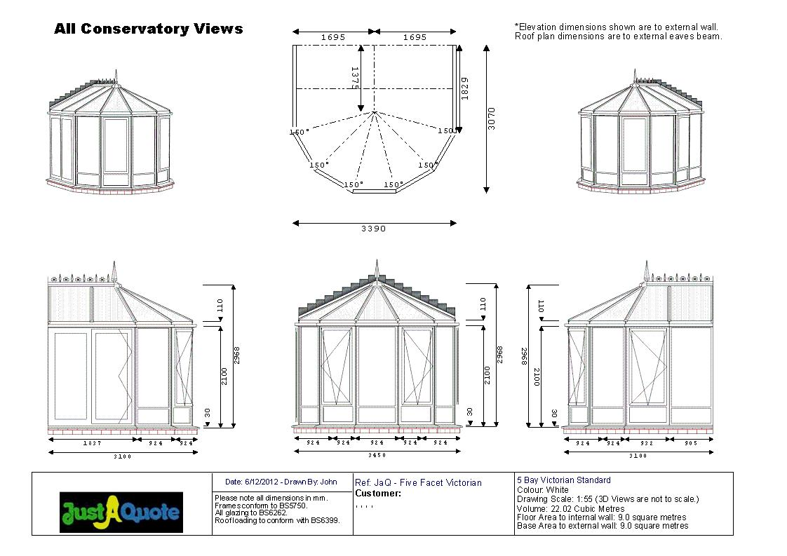 Victorian Conservatories - Five Facet Victorian Conservatory CAD Drawing