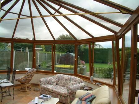 Victorian Conservatories - Large Light Oak Effect Three Facet Victorian Conservatory, Internal View