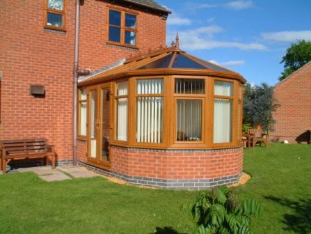Victorian Conservatories - Light oak effect five facet Victorian conservatory