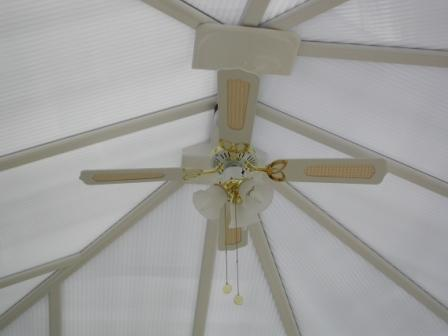 Conservatory Glazing - Opal Polycarbonate and Electric Fan in a Conservatory Roof