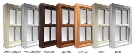 uPVC sliding sash windows frame colour options