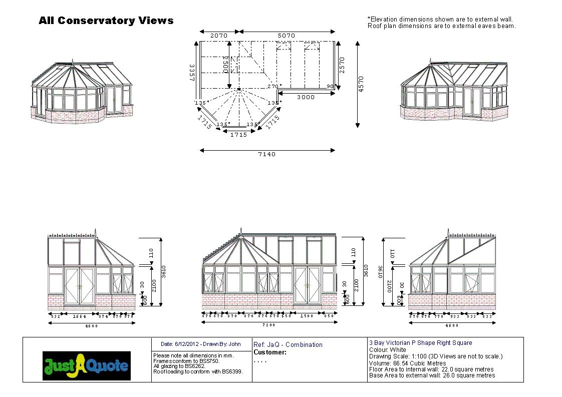 Combination Conservatories - Victorian P Shape Conservatory CAD Drawing