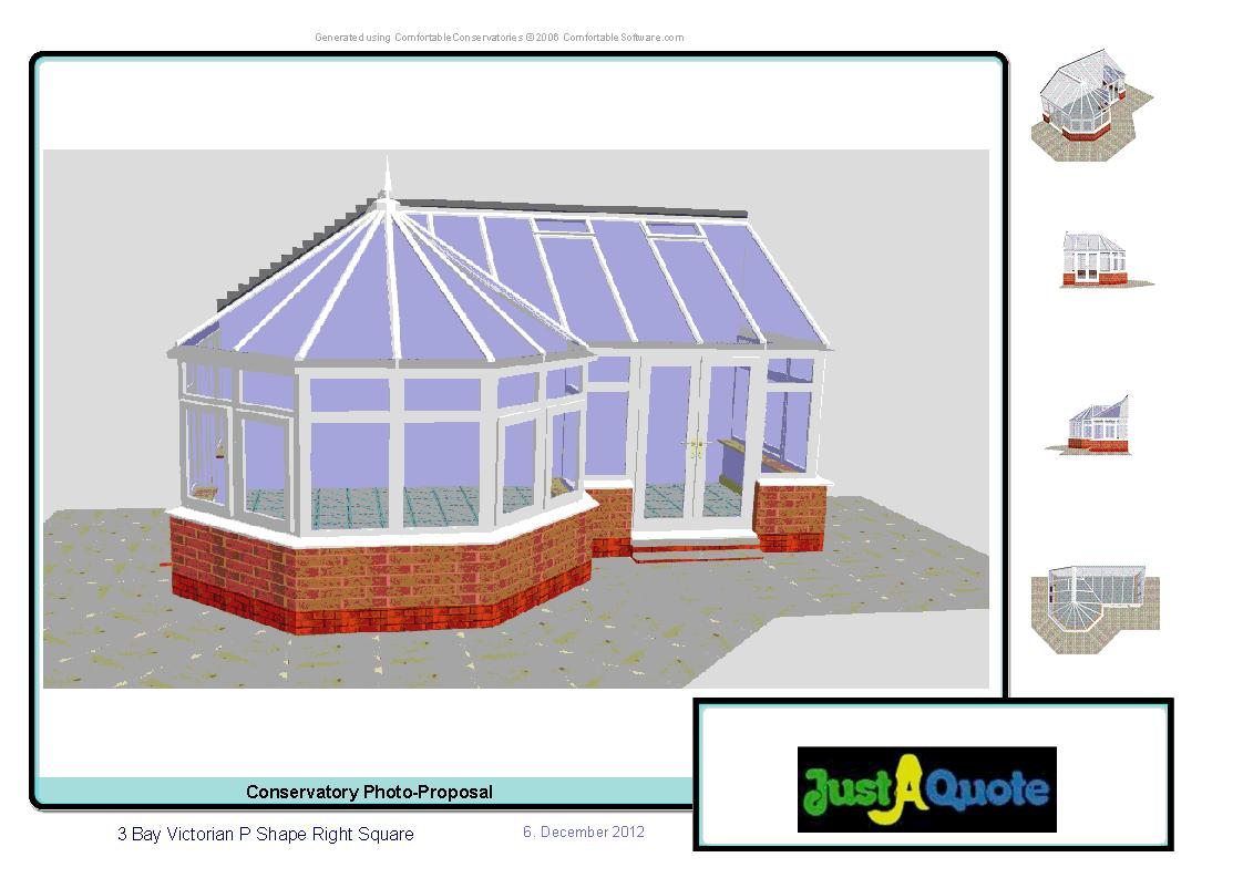 Combination Conservatories - Victorian P Shape Conservatory CAD Image