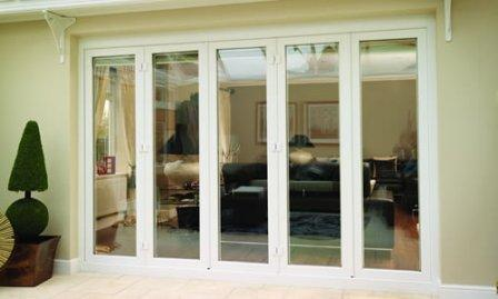 White uPVC Bi-fold doors in closed position