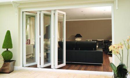 White uPVC Bi-fold doors, open
