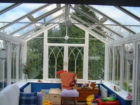 Gable Conservatories - White uPVC Gable Conservatory with Gothic Arches, Internal View