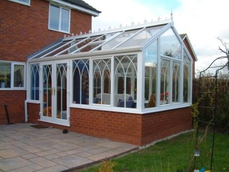 Gable Conservatories - White uPVC Gable Conservatory with Gothic Arches