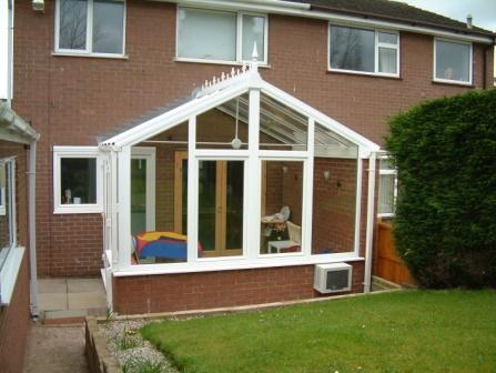 Gable Conservatories - White uPVC Gable Conservatory with Tilt and Turn Windows