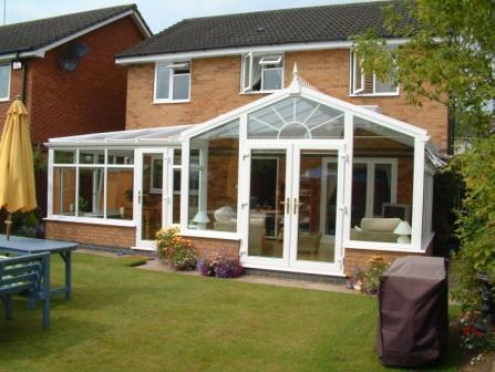 Combination Conservatories - White uPVC P shaped Conservatory with Gable Front