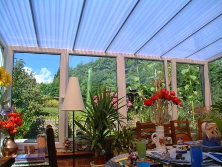 Sun Lounge Conservatories - White uPVC Sun Lounge with Low Pitched Roof, Internal View