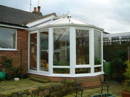 Victorian Conservatories - White Five Facet Victorian Conservatory on a Bungalow