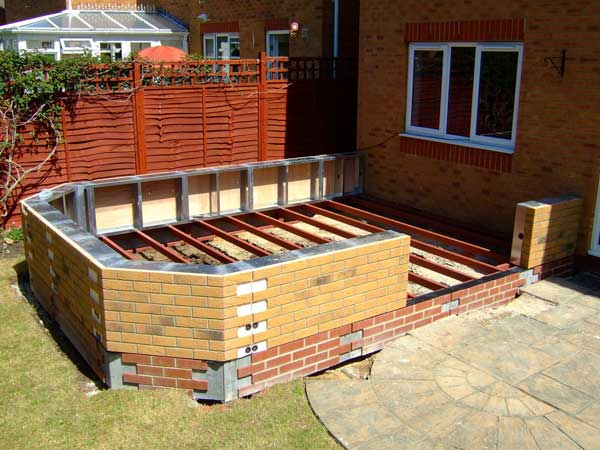 DIY Conservatories - The brick-faced modular wall is fixed to the steel base