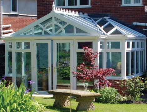 Combination Conservatories - P Shaped Conservatory with Gable Front and Sun Burst Design