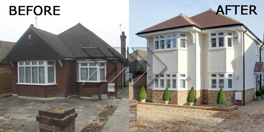 Home Extensions - Bungalow Conversion to a House - Front