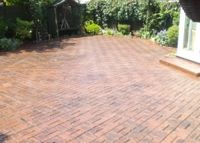 Old Brick Basket Weave Imprinted Concrete Installation