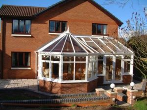 DIY Conservatories - Three facet Victorian P Shape conservatory with glass roof