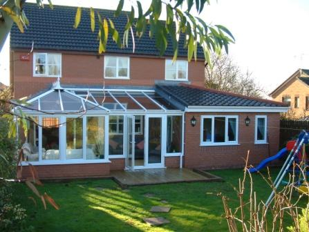 White uPVC Edwardian P Shape Conservatory with Office Extension