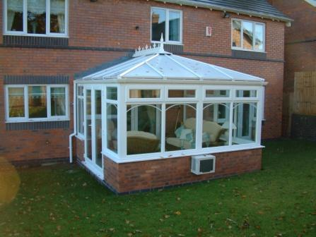 Edwardian Conservatories - White uPVC Edwardian Conservatory with Air Conditioning Unit
