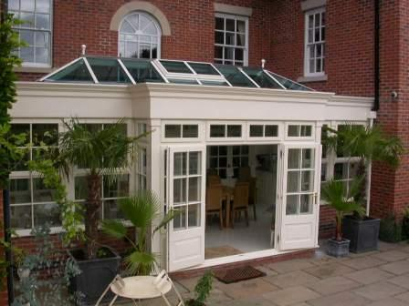 Orangeries - White Painted Hardwood Orangery with Double Doors
